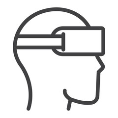 Virtual reality glasses line icon, game and electronic, vector graphics, a linear pattern on a white background, eps 10.
