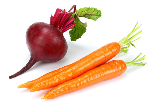 beetroot and carrot isolated on white background
