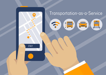 TaaS, Transportation as a Service startup business concept illustration