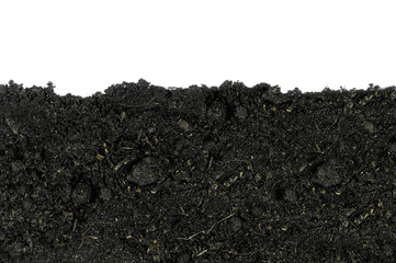 Close-up of organic soil on white background (soil, earth, ground)