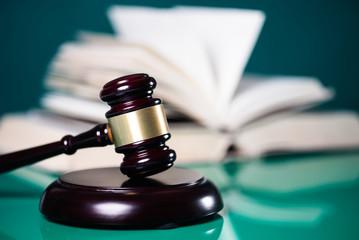 Law theme. Lawyer desk