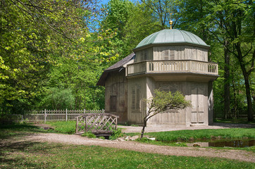 Wooden witch house in the forest. Nymphenburg palace park, Munich, Bavaria, Germany