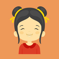 Asian little girl laughing facial expression,