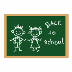 Back to school writing and drawing on the board