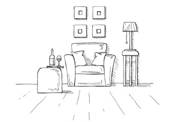 Armchair, coffee table with a glass and bottle. Lamp on a high stool. Hand drawn vector illustration of a sketch style.