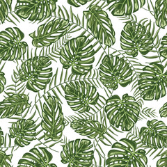 Tropical leaf seamless pattern background