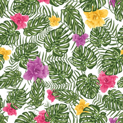 Tropical leafs and flowers seamless pattern background