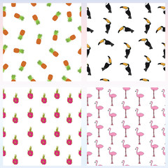 Set of simple seamless pattern with exotic tropical birds and fruits on white background. Hand drawn tropical background