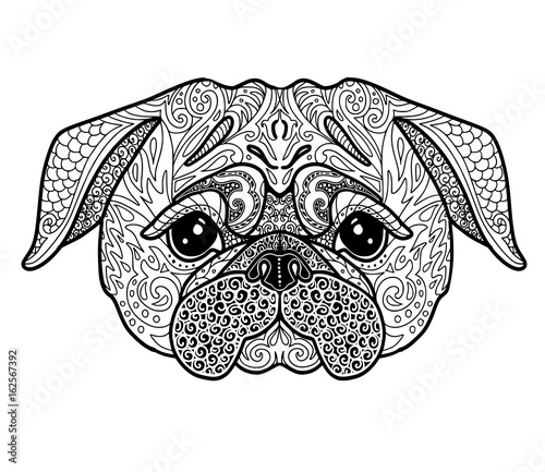 Dog Pug Doodle Illustration Page For Adult Coloring Book Symbol Of Chinese New Year 2018