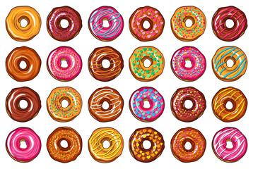 Decorative hand drawn donuts with different colorful icing set. Sweet desert doodle vector illustration