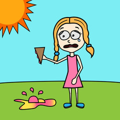 sad girl with ice cream on the ground summer funny vector illustration