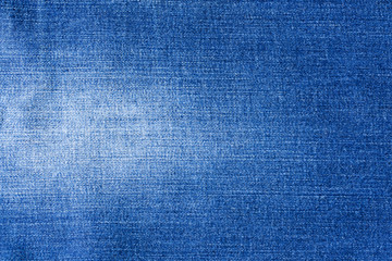 Jeans Blue Fabric With White Spot Close Up. Bacgkround And Texture.