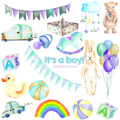 Baby boy shower watercolor elements set (toys, cars, air balloons, rainbow, nipple, flags and other), hand painted isolated on a white background, baby shower invitation and boy birthday
