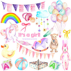 Baby girl shower watercolor elements set (toys, unicorn, air balloons, rainbow, nipple, feathers and other), hand painted isolated on a white background, for baby shower invitation and girl birthday