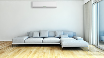 Modern bright living room lounge interior with air conditioning. 3D rendering