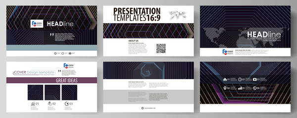 Business templates in HD format for presentation slides. Vector layouts in flat style. Abstract polygonal background with hexagons, illusion of depth. Black color geometric design, hexagonal geometry.