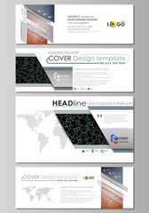 Social media and email headers set, modern banners. Business templates. Vector layouts in popular sizes. Chemistry pattern, molecular texture, polygonal molecule structure, cell. Microbiology concept.