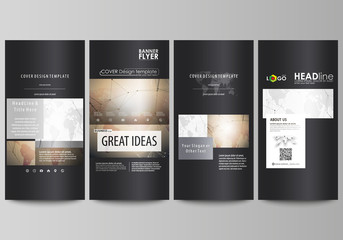 The black colored minimalistic vector illustration of the editable layout of four vertical banners, flyers design business templates. Global network connections, technology background with world map.