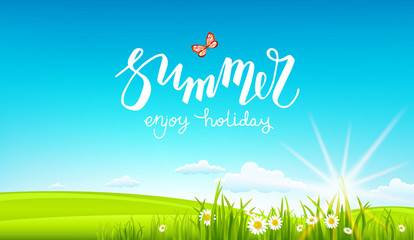 summer banner and sun