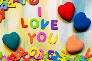 colorful letters and hearts, i love you