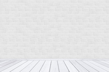 White brick wall texture with wood floor.