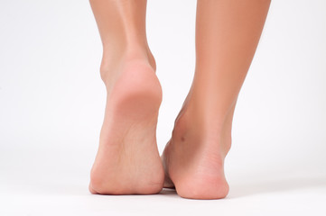 Woman feet. Perfect clean female heels.