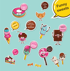 set of funny sweets. Cartoon face food emoji. Funny food concept.