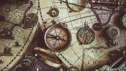 Compass On Ancient World Map
