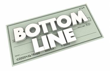 Bottom Line Check Profit Net Results Payment 3d Illustration