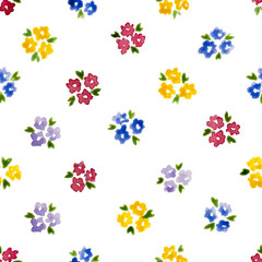 Calico watercolor pattern. Pleasing seamless cute small flowers for fabric design. Calico pattern in country stile. Trendy handpainted millefleurs.