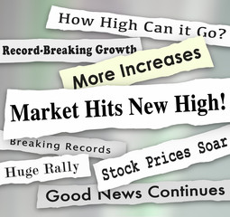 Market Hits New High Newspaper Headlines Illustration
