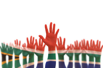 South Africa national flag on leader's palms isolated on white background (clipping path) for human rights, leadership, reconciliation concept