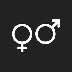 Gender sign vector icon. Men and woomen concept icon.