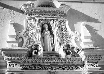 Architectural Details in black and white of La Merced Convent in  Antigua, Guatemala.