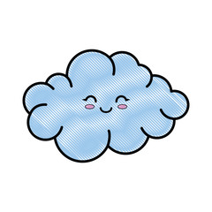 kawaii cloud icon over white background colorful design vector illustration