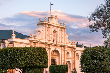 Saint James Cathedral Facade at sunset in Antigua, Guatemala