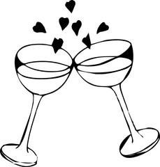 line art - romantic glasses