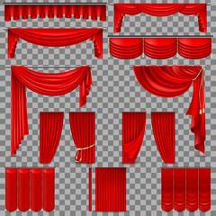 Luxury set of red velvet silk curtains. EPS 10