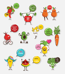 set of funny fruit and vegetable icons. Cartoon face food emoji. Funny food concept.