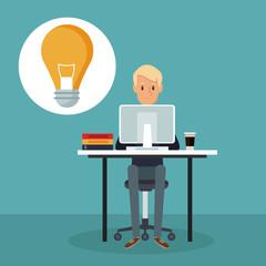 color scene background side view web developer man in desk icon light bulb