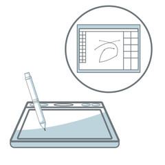white background with silhouette color sections shading of digitizer with pen and icon window program design