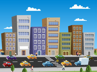 Cartoon City Scape Buildings