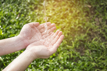 Water pouring in hands on nature background.