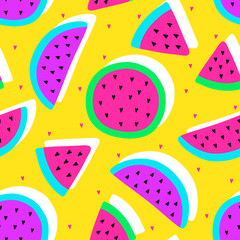 Vector seamless watermelon fruit crazy colors pattern. Watermelon slices. Very bright colorful cute cartoon background (wallpaper, fabric). Childish style, abstract pop art