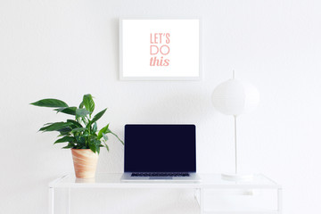 Modern clean workspace blank screen frame