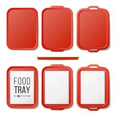 Empty Plastic Tray Salver Set Vector. Rectangular Red Plastic Tray Salver With Handles. Top View. Tray Isolated Illustration
