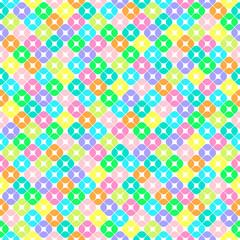 Бесшовный узор из разноцветных элементов в форме квадратов с закруглёнными углами, разделённых на четыре части, на белом фоне.