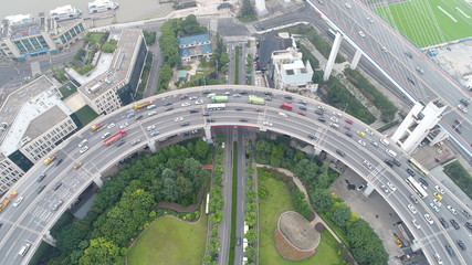 上海 shanghai china traffic car highway busy square roop drone sky money