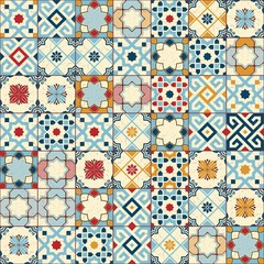 Gorgeous seamless pattern white colorful Moroccan, Portuguese tiles, Azulejo, ornaments. Can be used for wallpaper, pattern fills, web page background,surface textures