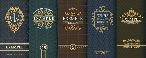 Exquisite set of design templates for label and package of whiskey